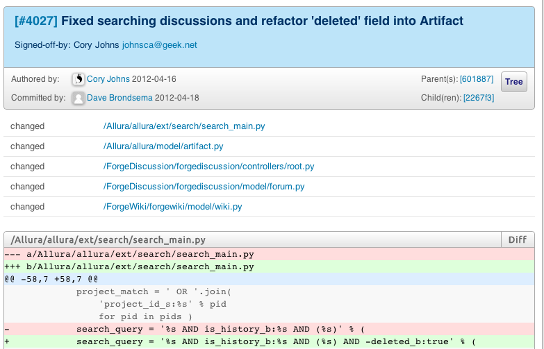 Apache Allura diff viewer in dashboard